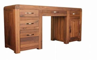 Desk Baumhaus Walnut Computer Pedestal Twin Drawers