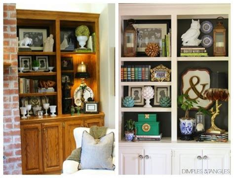 Painted Built In Bookshelves // updating oak cabinetry