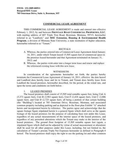 commercial lease agreement examples  word examples