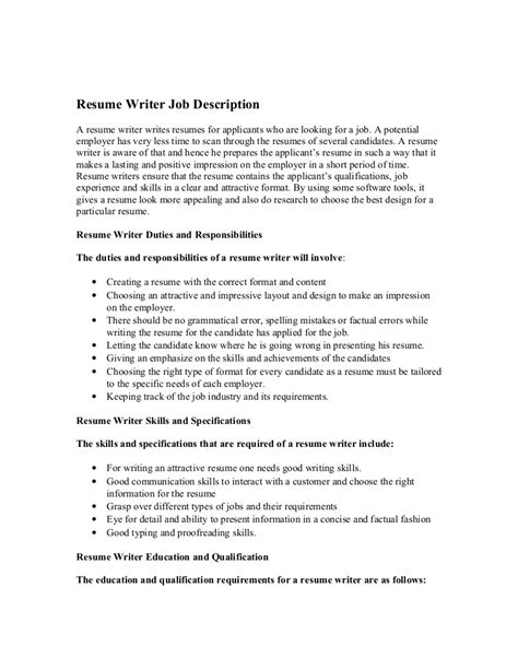 Description Resume by Resume Writer Description
