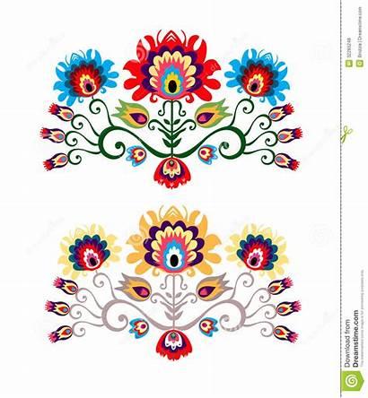 Polish Folk Inspiration Traditional Floral Vector Flower