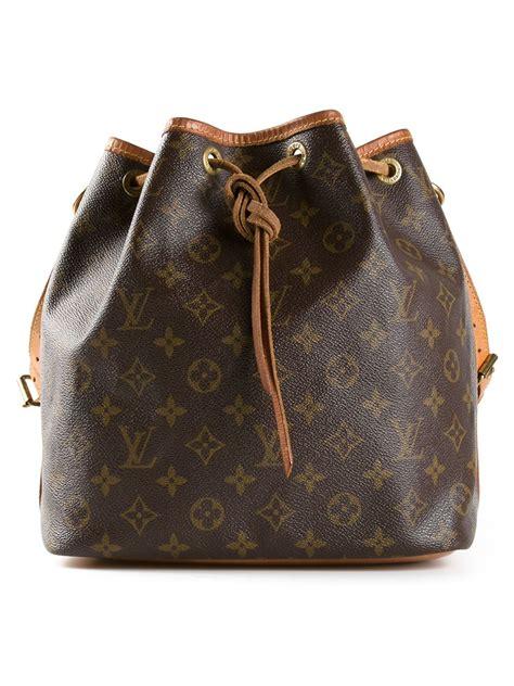 louis vuitton leather monogram petite bucket bag  brown lyst