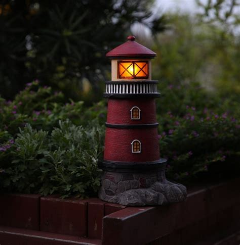 solar lighthouse garden statue outdoor light fresh garden decor