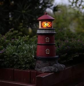 Solar Lighthouse Garden Statue Outdoor Light Fresh