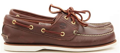Brown Shoes : Mens Timberland Leather Casual Slip On Lace Boat Drving