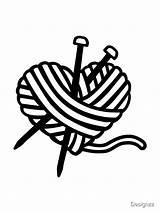 Heart Knitting Needles Wool Redbubble Designzz sketch template