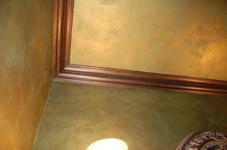 green apple metallic plaster wallsceiling bronze glazed trim