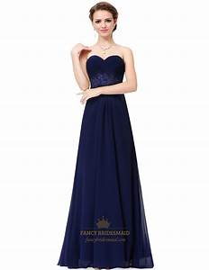 Navy Blue Strapless A-Line Long Ruched Chiffon Prom Dress ...