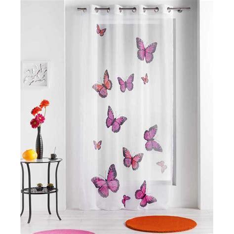 voilage papillons quot bella quot rose 140x240 cm