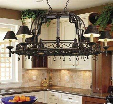 rustic kitchen lighting fixtures dark bronze pot rack chandelier  downlights kitchens