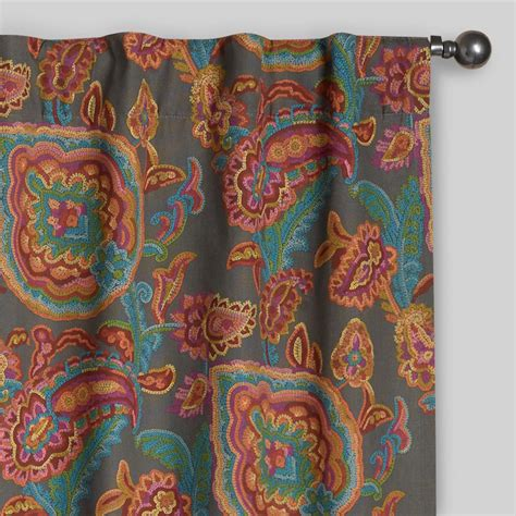 paisley cotton concealed tab top curtains set of 2