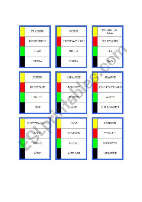 Pictionary Card Esl Worksheet By Fjyj