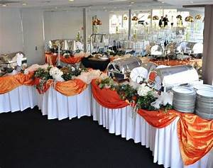 accent color for buffet table. use the blue table cloths ...