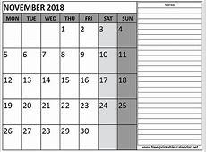 Printable 2018 November Calendar