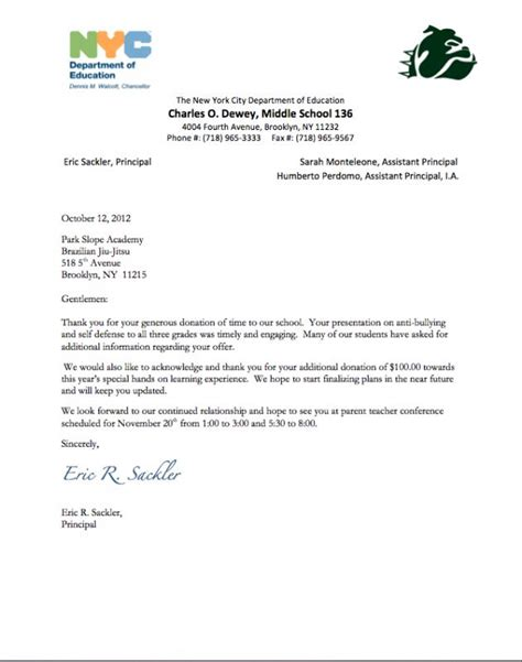 donation letter template for schools thank you letters for donations template business