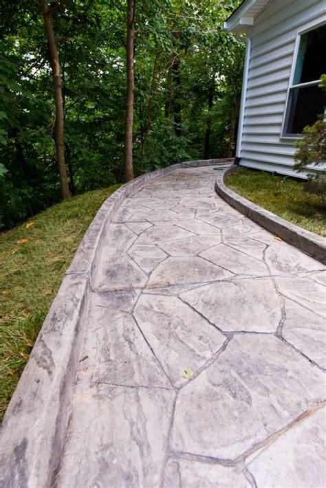 stamped concrete patio  sidewalk custom home elements