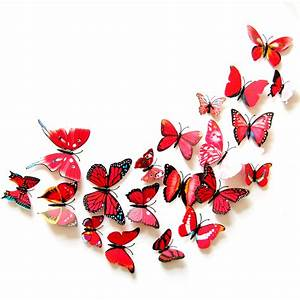 cartior 12 pcs 3d butterfly sticker art decal wall mural With what kind of paint to use on kitchen cabinets for butterfly wall art 3d