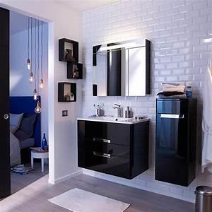 Meuble Salle De Bain Castorama : meuble de salle de bains noir decotec belt 80 cm salle ~ Melissatoandfro.com Idées de Décoration