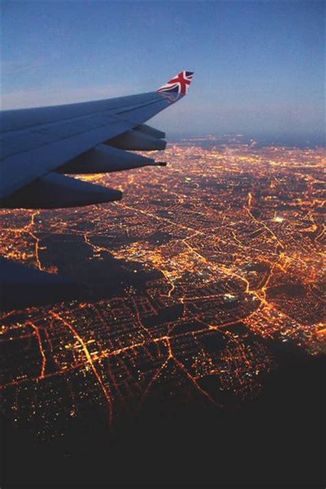 London I Love The Sight Of City Lights From A Plane At