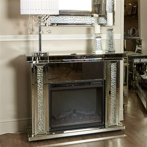 Floating Crystal Mirrored Electric Fireplace   Picture