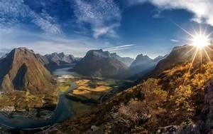 Landscape, Nature, Sun, Rays, Morning, Shrubs, Mountain, River
