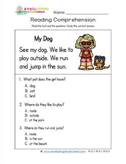kindergarten reading comprehension  dog wellspring