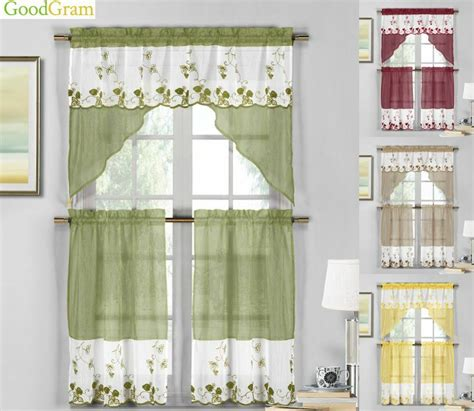 country embroidered strawberry kitchen curtain tier swag