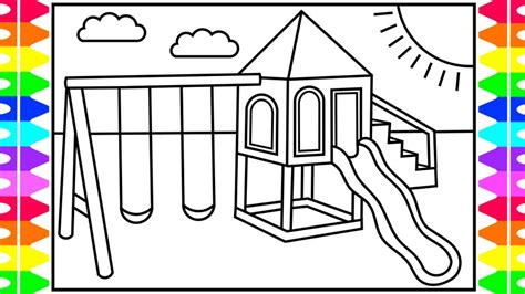 coloring set how to draw a swing set for swing set drawing