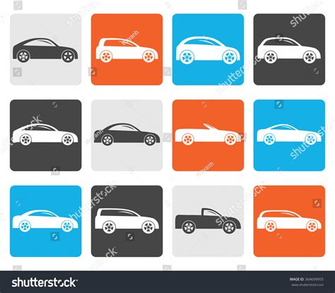 Flat Different Types Cars Icons Vector Stock Vector