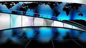 HD Virtual TV studio news set with globe/earth map in ...