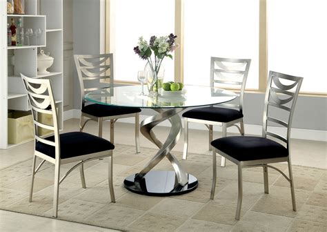 mueller  glass satin dining table   chairs