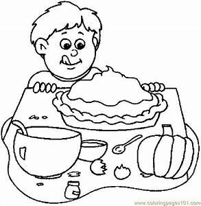 Boy & Pumkin Pie Coloring Page - Free Thanksgiving Day ...