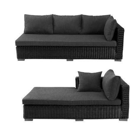 Canapé d angle d extérieur en résine tressée noire cendre