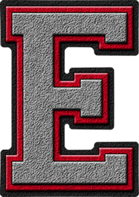 alphabets silver red varsity letter