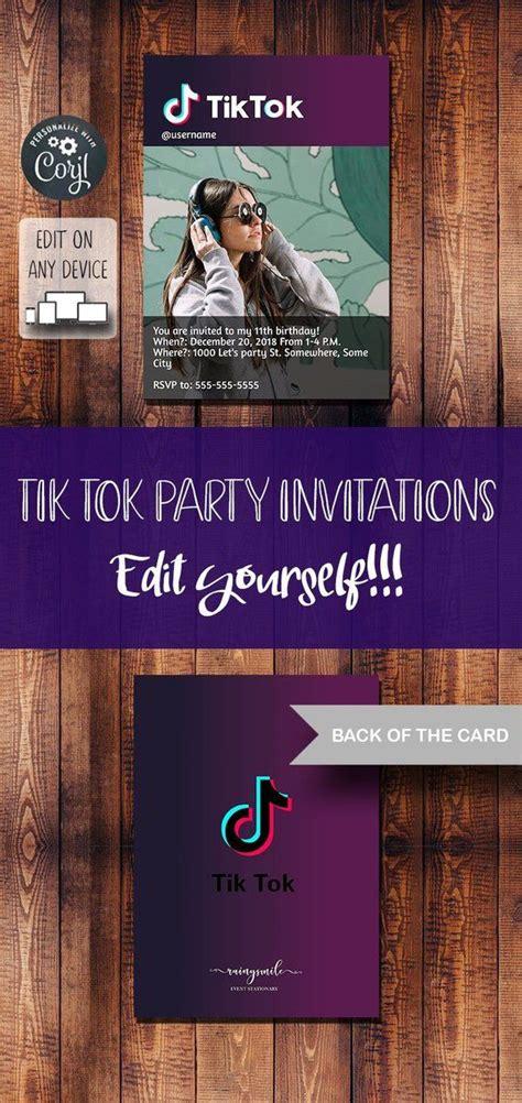 tik tok printable invitation musically invites digital