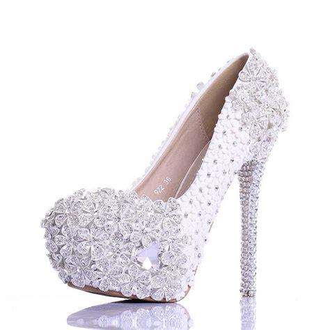 arrival luxury rhinestone lace wedding shoes high heel