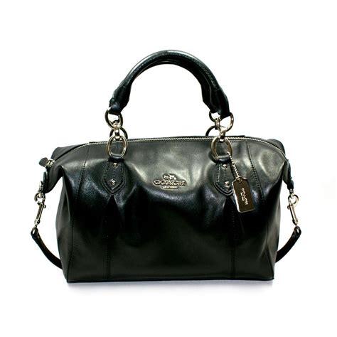 coach collette leather satchelshoulder bag black  coach
