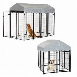 Outdoor dog kennel run house crate cage enclosure anti uv for Dog run cage enclosure