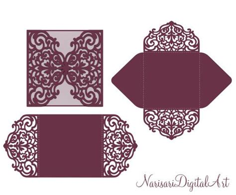 cricut templates four fold envelope laser cut template svg dxf cdr files quinceanera christening plotter