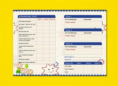 card template preschool pre nursery report card on behance report card ideas