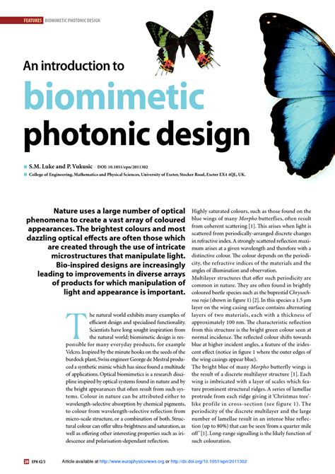 an introduction to biomimetic photonic design europhysics news
