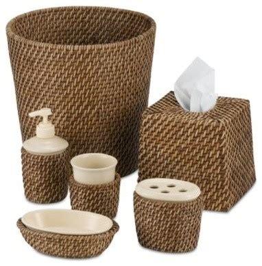 Avalon Wicker Waste Basket  Contemporary Wastebaskets