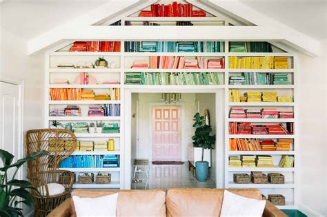 Bookshelves As Room Focus by Elsie S Rainbow Bookshelves A Beautiful Mess