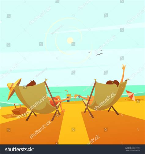 beach rest background couple chaise lounges stock vector