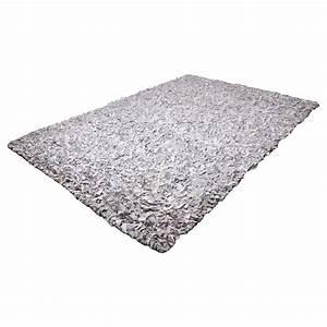 tapis shaggy cuir blanc et gris 160x230 With tapis cuir gris