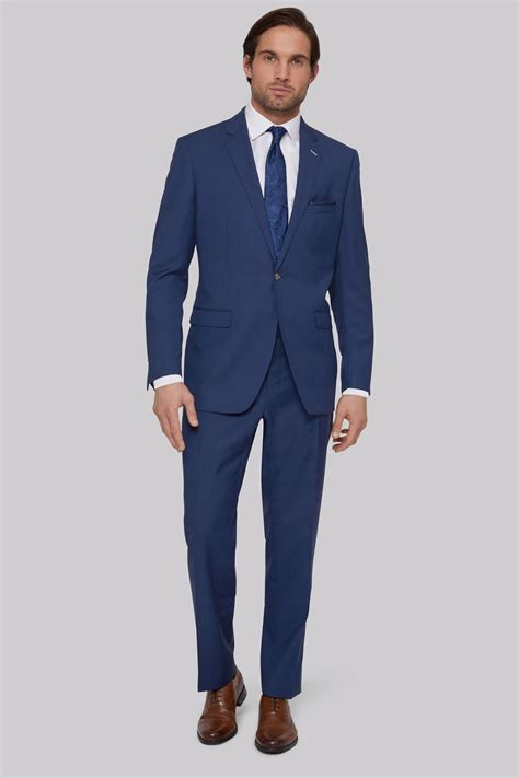 Moss Bros Tailored Fit Bright Blue Suit