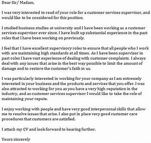 cover letter example for customer service supervisor With cover letter for supervisor position customer services