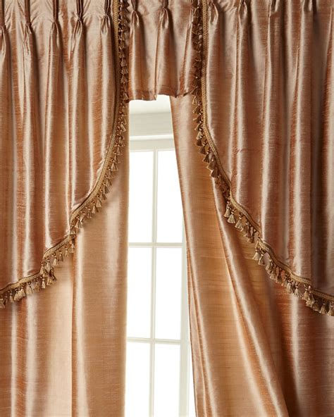 two 52 quot w x 108 quot l curtains with tassel fringe at bottom