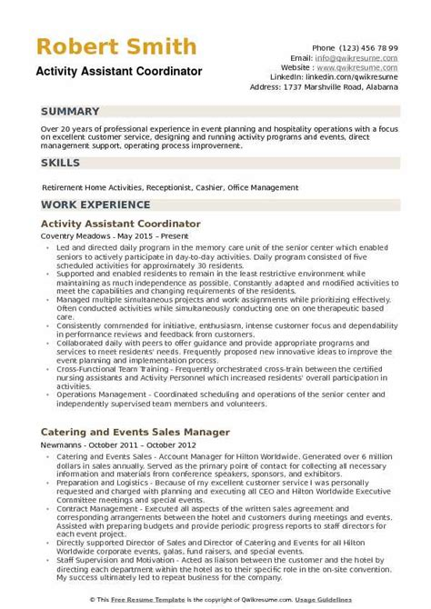 Activities Resume Template by Exle Of Resume Of Activities Resume Cv Activities