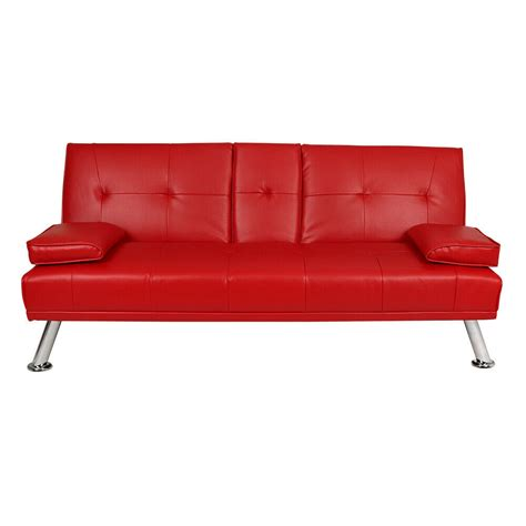 Futon Settee by Faux Leather Sofa Bed Modern 3 Seater Settee Futon Z